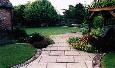 Summerhouse and winding path
